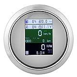 FastUU 6‑in‑1 Multifunctional Gauge, GPS Speedometer Tachometer Voltmeter Water Temp Fuel Level Oil Pressure Gauge, Waterproof Anti‑Fog Combo Gauge for Car, Boat, Yacht, etc(White US)