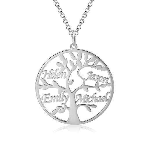 Jessemade Name Necklace 925 Sterling Silver Personalized Name Tree of Life Necklace Family Tree of Life Pendant with Engraving 1-9 Names Family Jewelry Gift