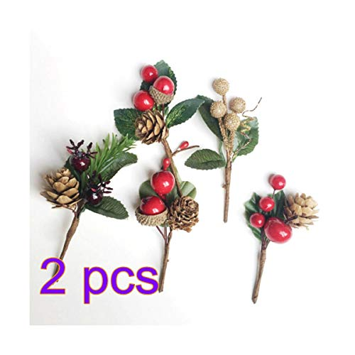 INFILM 10 Pcs Artificial Greenery Pine Cone Branches with Green Leaves, Boutique Holiday Floral Picks Flower Arrangement Decorations