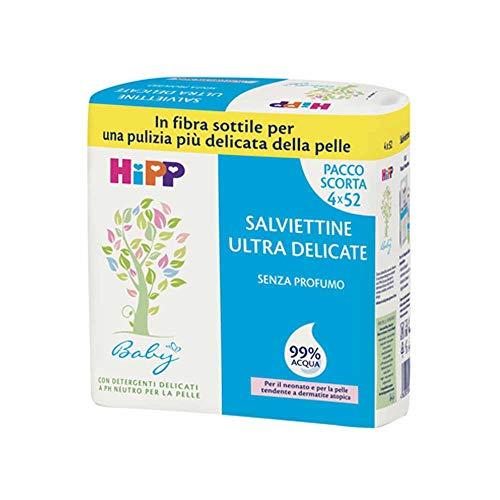 HiPP Salviette Ultra Delicate 99% Acqua Multipack, 4 x 52 Salviettine