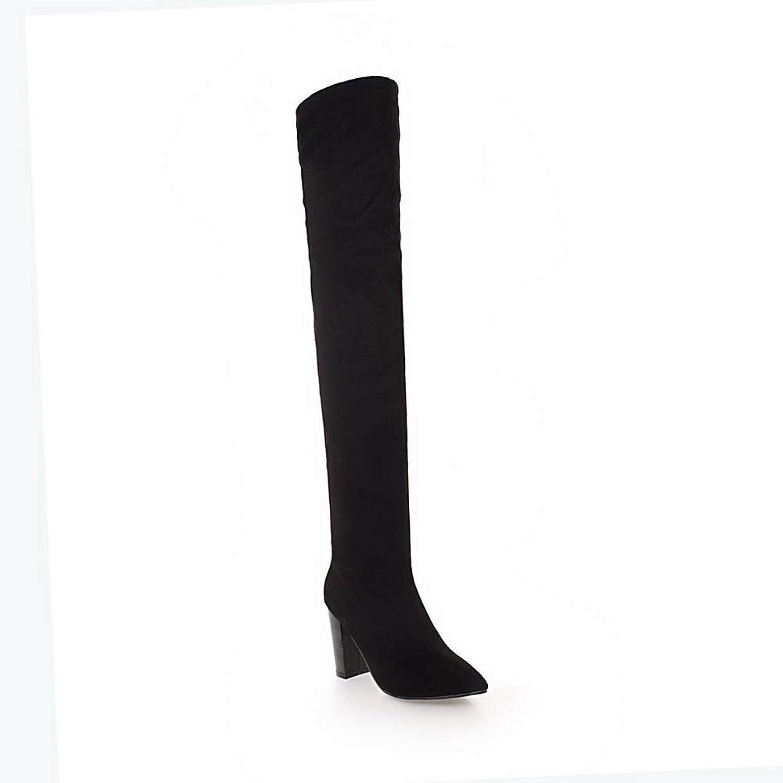 BalaMasa Womens Bucket-Style Solid Nubuck Urethane Boots ABL11328