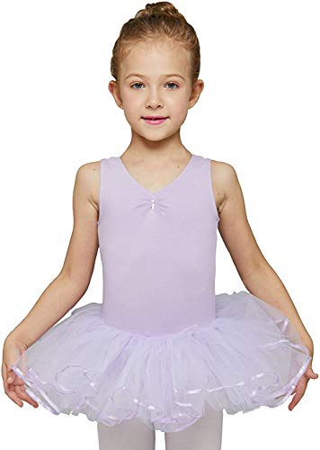 MdnMd Purple Leotard Tutu for Girls Toddler Ballet Dance Outfit Dress Costume (Lavender Purple, Age 4-6 / 4t,5t)