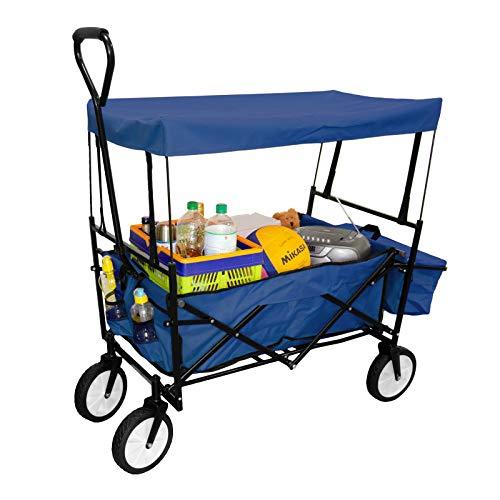 GEORGES Faltwagen - Bollerwagen - Faltbarer Handwagen - Strandwagen - Gartenanhänger - Festivalwagen (Blau mit Dach)