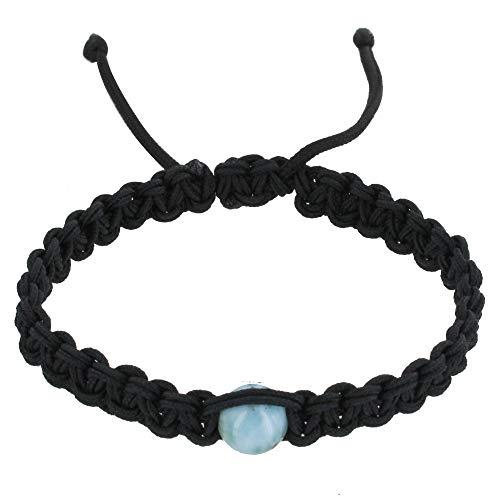 Schmuck Les Poulettes - Shamballa Mann Armband Schwarz Geflochtenen Link und Blau Larimar Dominikanische