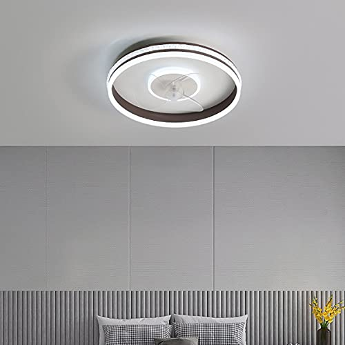 LED Fan Ceiling Light Dimmable Ceiling Fans with Lamps And Remote Silent 3-Speed Wind Fan Pendant Light for Living Room Bedroom Kid's Room Ceiling Lamps,Marrón