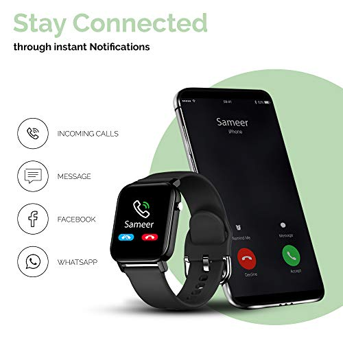 TAGG Verve Smartwatch with Real Time Heart Rate Tracking, SPO2 (Blood Oxygen Monitoring), Sleep Tracking with 10 Days Battery Life, Active Black