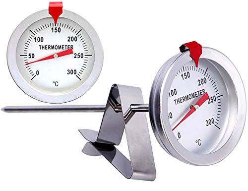 Bratenthermometer, Hochtemperatur-Ölthermometer, Edelstahl Kochthermometer mit Befestigungsclip für Marmelade, Zucker, Süßigkeiten, Temperatur 0-300 ℃