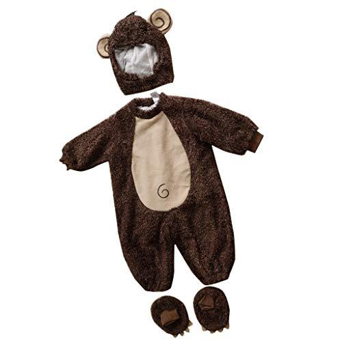 P PRETTYIA Neonato Pagliaccetti Carina Animale Vestire Fodera Halloween Natale Costume Abiti da Battesimo Scarpe Cappello - Scimmia, 24-30 mesi