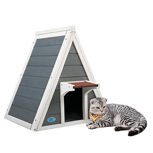 "COZIWOW Compact Sturdy Triangle Wood Cat Pet House Cat Condo with Double Entrances, Outdoor and Indoor for Small Medium Cat, Gray&White,21.26""H"
