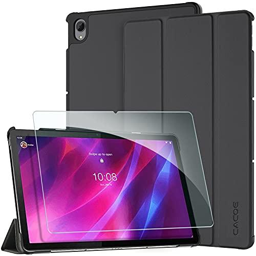CACOE Funda Compatible con Lenovo Tab P11 TB-J606 / Tab P11 Plus con cristal blindado, Funda Ultrafina con Función atril, Función de Encendido y Apagado Automático, Negro