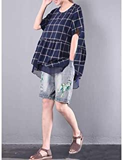 $33 » S-5XL Casual Women Plaid Fake Two Pieces Shirts