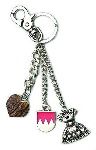 Mega-Shirt Modeschmuck Tracht Schlüsselanhänger Trachtenschmuck Lederhosenschmuck Dirndlschmuck Schlüssel Anhänger silber
