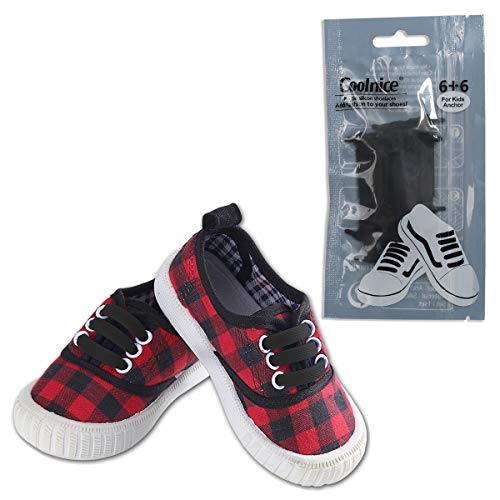 Coolnice No Tie Shoelaces for Kids Waterproof Silicone Elastic Shoe Laces-Black