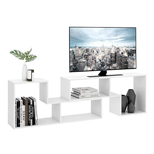 DEVAISE Multifunctional Hölzernen TV-Lowboard/Bücherregal/TV Schrank; 15mm Dicke, Weiß