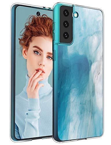 biteri Funda para Samsung Galaxy S21 Plus 5G, funda de silicona de mármol, funda protectora para Galaxy S21 Plus, funda de silicona transparente, fina, resistente a los golpes y los arañazos