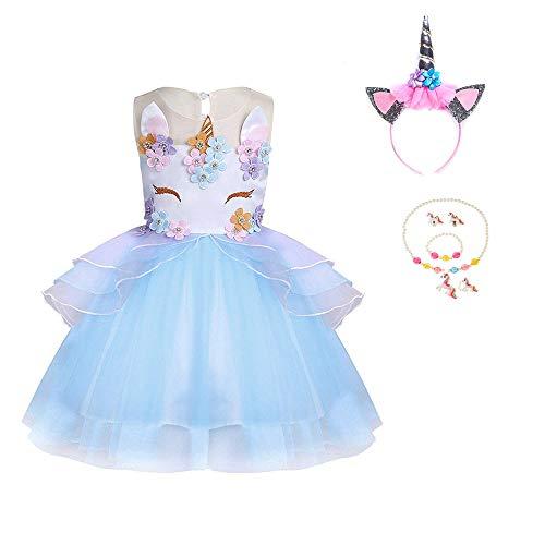 Yigoo Unicornio tutú para niña, disfraz de princesa, para cosplay, carnaval, Halloween, cumpleaños, con banda de pelo de unicornio, color azul, 150