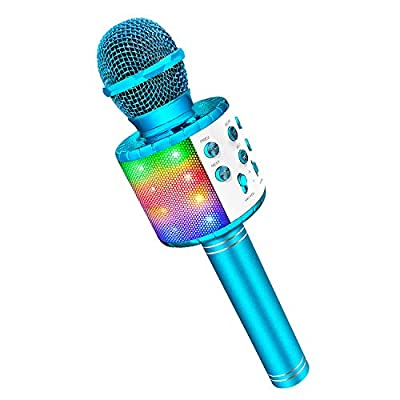 Caly LED Lights Wireless Bluetooth Karaoke Microphone for Kids Adult from