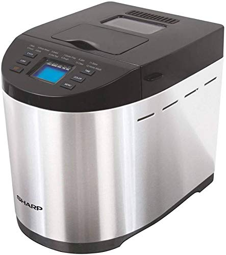 Sharp Table-Top Bread Maker for Home, Kitchen | Fully Automatic Functions | 12 Pre-Programmed Menus Including Gluten-Free | 3 Crust Colours | Fruit & Nut Dispenser | LCD Display | Grey, Black