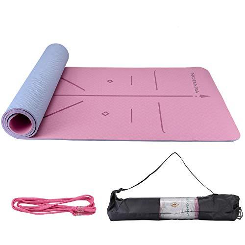 NADARA Eco Yoga Mat Tiene Sistema de alineación del Cuerpo Humano, TPE Antideslizante, Alfombra del Piso Pilates Ligero y Compacto, Adecuado Fitness para Hombres y Mujeres y Viajes Familiares.