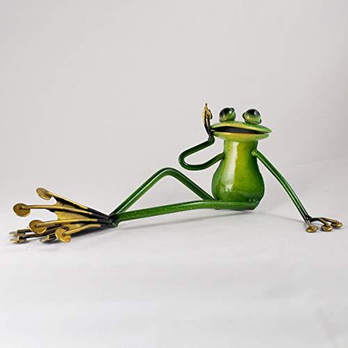 Grenouille verte pieds tendue assis ornment – Sculpture en métal avec peinture émail brillant – Fun en métal pour votre maison