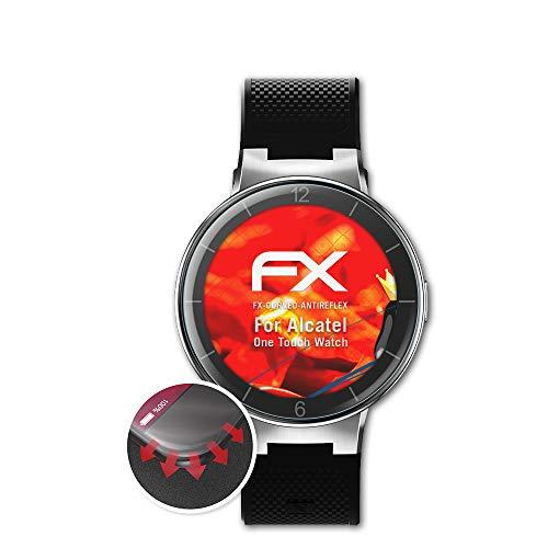 atFoliX Schutzfolie kompatibel mit Alcatel One Touch Watch Folie, entspiegelnde & Flexible FX Bildschirmschutzfolie (3X)