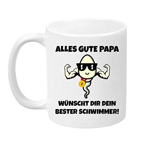 TassenTicker - Alles Gute Papa. Wünscht dir Dein Bester Schwimmer - Geschenk - Vatertag - Kaffeetasse - Tasse für Männer - lustig - Geburtstag - Geschenkidee (Weiss)