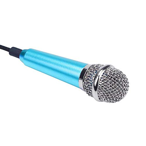Haluoo Portable Mini Handheld Microphone Lightweight Wired Vocal/Instrument Microphone for Karaoke Live Vocal Speech Singing Fits Laptop Desktop Computer Tablet Tv Karaoke Cell Phone Mic (Blue)
