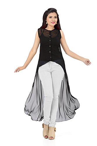 Ishin Georgette Black Party Wear Casual Wear Bollywood Solid New Collection Latest Design Trendy Women's Western Wear Top