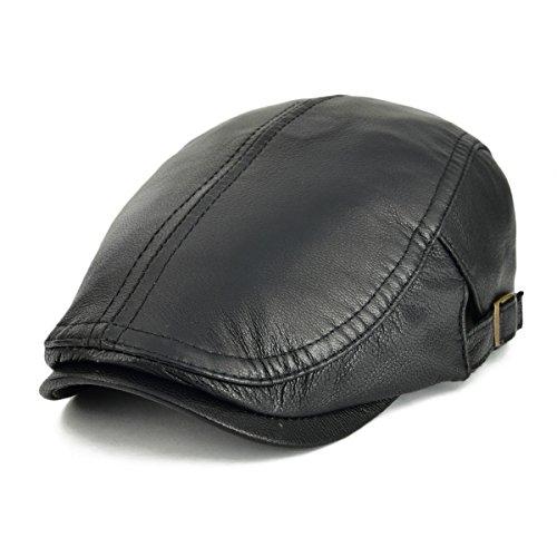VOBOOM Men Women Adjustable Genuine Leather Ivy Cap Newsboy Hat (Black)
