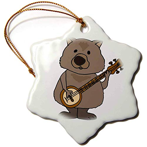 Kysd43Mill All Smiles Art Animals Cute Funny Wombat Playing Banjo Music Cartoon Christmas Ornaments for Kids Christmas Tree Decoration Ceramic 3 Inches
