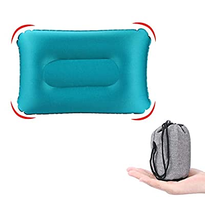 KUYOU Inflatable Camping Pillow, Compressible Ultralight Ergonomic Portable Air Pillow for Neck and Lumbar Support, Compact Sleeping Pillow for Hiking, Travel, Trips, Beach Use (Blue)