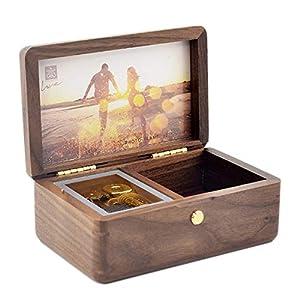 Sinzyo Custom Photo You are My Sunshine Wood Jewelry Music Box for Christmas/Birthday Gift - You are My Sunshine (Walnut Wood)