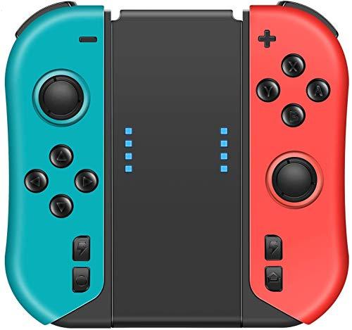 VOYEE Wireless Controller Ersatz für Nintendo Switch Joycon Controller, L/R Joypad mit Griff/Turbo/Share-Taste/Bewegungssteuerung/Doppelschock Kompatibel mit Nintendo Switch Joy Con - Rot und Blau