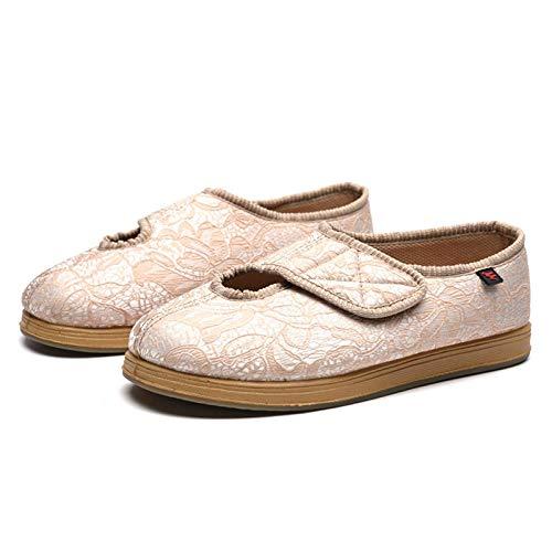 B/H Zapatillas para diabéticos con Espuma,Calzado para pie diabético Ajustable, Calzado ortopédico valgus para pie y Pulgar-Beige_41,Zapatos para diabéticos para Edema