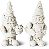 Paint Your Own Garden Gnomes, 2 Pack Unpainted DIY Small Figurine for Adults or Kids (5 inch)