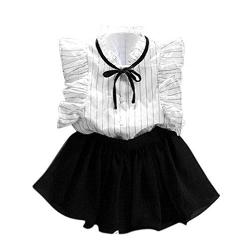 K-youth® Verano Chicas Rayas Camisa Gasa Culottes Dos Piezas Conjunto Ropa Niña Falda Traje 2018 Ofertas para 2-7 años (Blanco, 100)