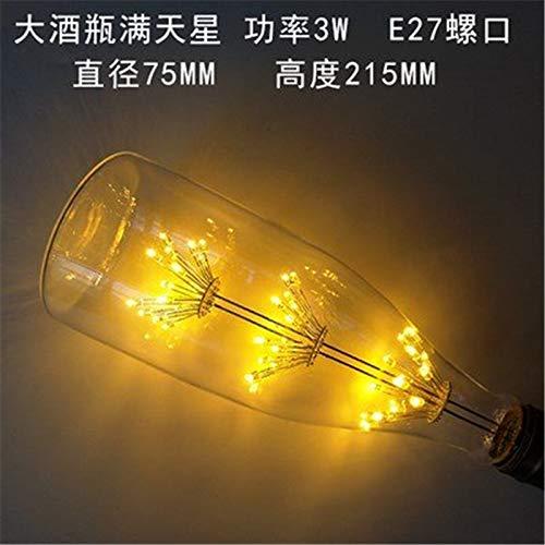 2 × Edison LED lamp E27 schroef persoonlijkheid spaarlampen 3W boom super Star creatief warme kleur gloeilamp, 3, grote fles wijn super ster, warm geel