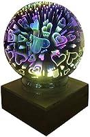3DカラフルなガラスナイトライトUSBプロジェクターランプ魔法クリスタルガラスボールの木製ベースの家の装飾ギフト(蝶) (ハート)