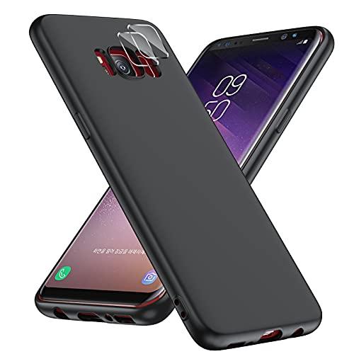 LeYi Funda Silicone para Samsung Galaxy S8 con 2 Pack Protector de Lente de cámara,Goma Antichoque Bumper de Protección Case,Carcasa de Silicona Suave para Samsung Galaxy S8,Negro