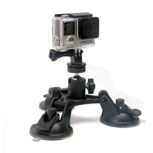 Kamera Saugnapfhalterung Kamerahalterung Super Tri-Cup Spiegelreflexkamera Saugnapf-Halterung Windschutzscheibe Saugnapf Halterung 360° Drehende Kugelkopf Action Kamera Saugnapfhalter für GoPro SONY