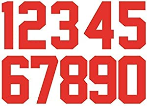 Fanbay 22 Pieces 5 Inch Iron Heat Transfer Number 0 to 9 for Sports T-Shirt Jersey Football Baseball,Team t-Shirt (Red 0-9)