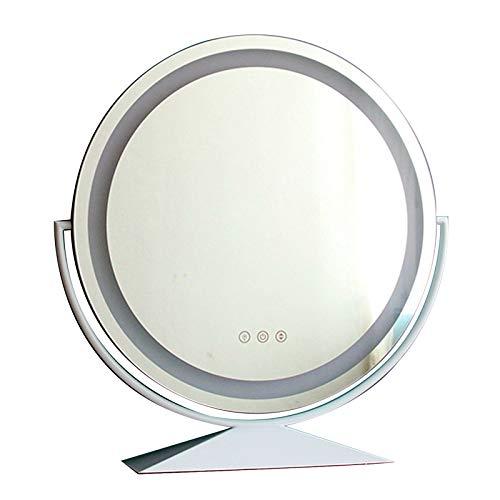 Espejo De Escritorio Inteligente, Espejo De Maquillaje LED, Espejo De Tocador Redondo con Marco De Metal, Rotación De 360 °, 3 Modos De Iluminación De Color, Brillo Ajustable, Pantalla Táctil