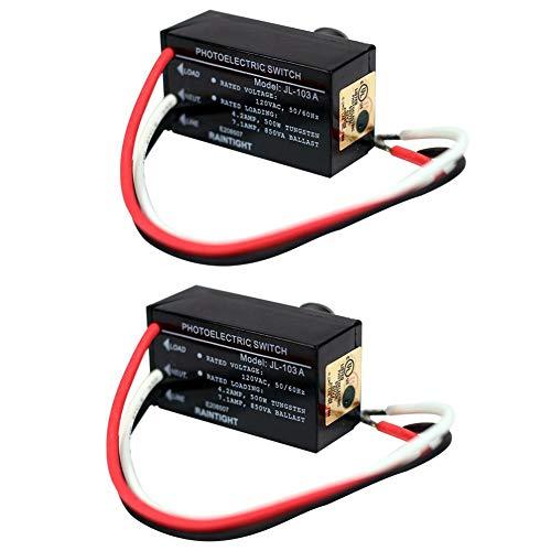 Odoukey 120V - 103a Sensor crepuscular Interruptor fotoeléctrico de Interruptor de iluminación Sensor fotoeléctrico Amanecer