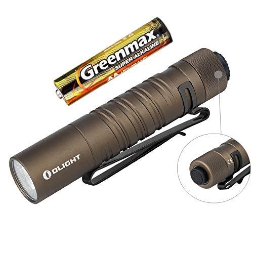 Olight I5T EOS - Linterna EDC 300 lúmenes / 60 metros LED blanco frío, linterna LED pequeña, con batería AA + funda de batería (Desert Tan)