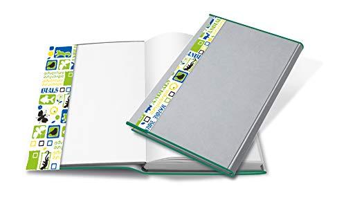 HERMA 27265 Buchumschlag HERMÄX Design Bio (Größe 26,5 x 54 cm, transparent) Buchhülle aus robuster Folie mit Namensetikett, 5er Set Buchschoner für Schulbücher