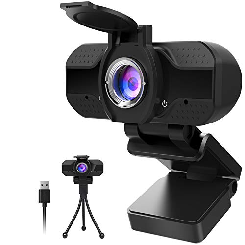 1080P Webcam mit Mikrofon und Datenschutz, 1080P HD USB Webkamera mit Stativ, Streaming-Webcam für Live-Streaming, Videoanrufe, Online-Unterricht, Konferenz, Spielen, HD-Webcam mit festem Fokus