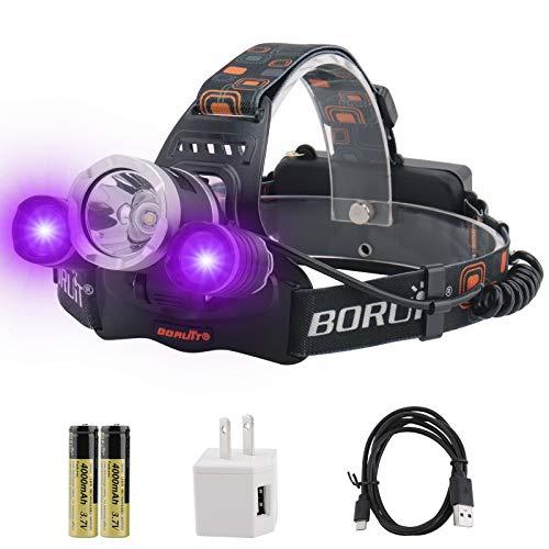 BORUiT RJ-3000 LED Black Light Headlamp - 5000 Lumens Rechargeable Blacklight Headlight,-Detect Fake Money/Jewelry - Pet Urine & Stain Detector-Fishing Light