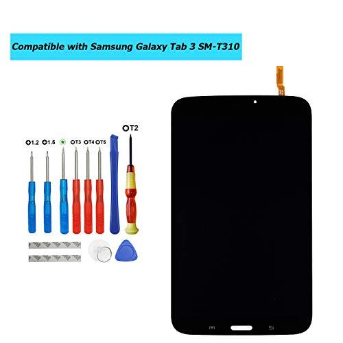 Upplus E-YIIVIIL Ersatz LCD Display Kompatibel Für Samsung Galaxy Tab 3 SM-T310 Ersatzteil Reparatur Anzeige LCD Touch Screen with Toolkit (Schwarz)