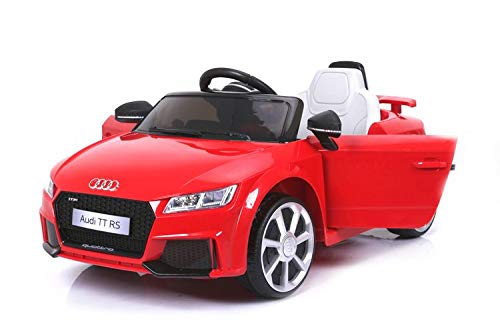 Audi TT RS Elektrisches Auto für Kinder, Rot, Original lizenziert, batteriebetrieben, Öffnungstüren, Ledersitz, 2X Motor, 12 V Batterie, 2.4 Ghz Fernbedienung, Soft Eva Räder, Glatter Start