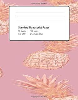 Standard Manuscript Paper: Rose Gold Pineapples Blank Sheet Music (Musicians Notebook)